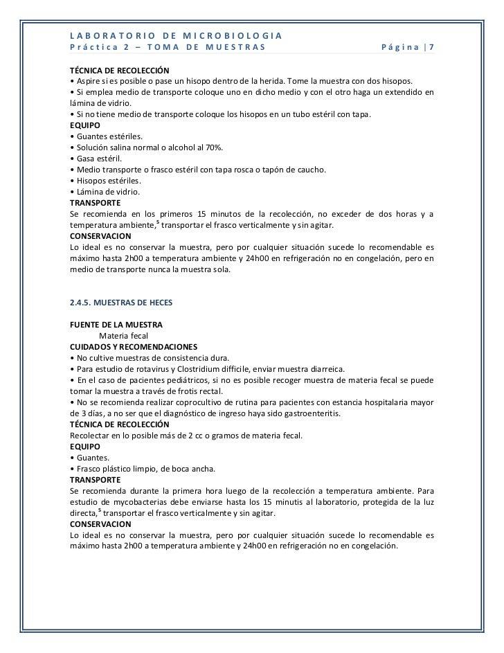 LABORATORIO DE MICROBIOLOGIAPráctica 2 – TOMA DE MUESTRAS                                                     Página |7TÉC...