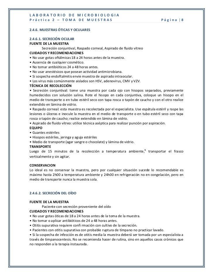 LABORATORIO DE MICROBIOLOGIAPráctica 2 – TOMA DE MUESTRAS                                                        Página |8...