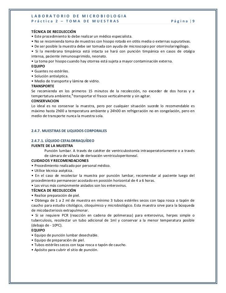 LABORATORIO DE MICROBIOLOGIAPráctica 2 – TOMA DE MUESTRAS                                                     Página |9TÉC...