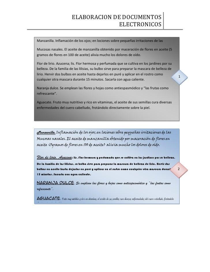 ELABORACION DE DOCUMENTOS                                                ELECTRONICOSManzanilla. Inflamación de los ojos; ...