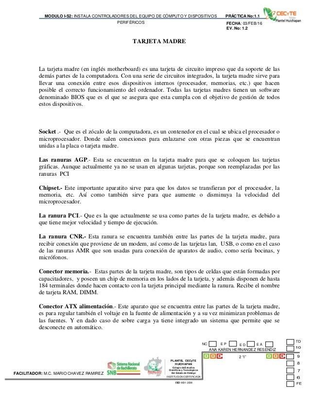 PLANTEL CECyTE HUICHAPAN Colegio de Estudios Científicos y Tecnológicos Del Estado de Hidalgo MODULO I-S2: INSTALA CONTROL...