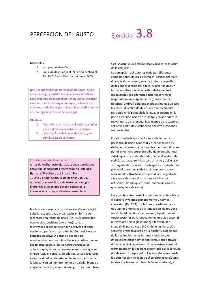 PERCEPCION DEL GUSTO<br />Materiales<br />Hisopos de algodón<br />Solución de glucosa al 5%, ácido acético al 1%, NaCl 5%,...
