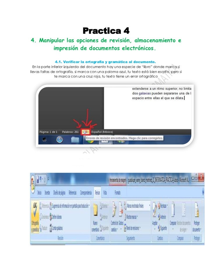 Practica 44. Manipular las opciones de revisión, almacenamiento e        impresión de documentos electrónicos.            ...