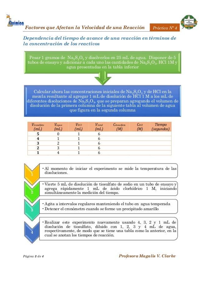Practica 4 factores que afectan la velocidad de la reaccion for Que es practica de oficina