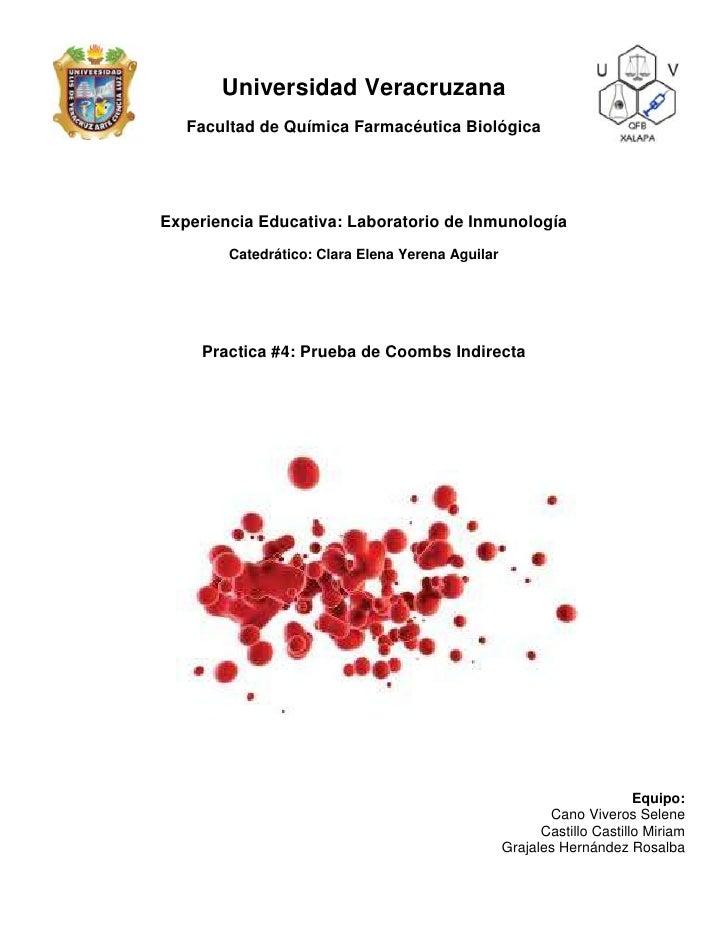 Universidad Veracruzana   Facultad de Química Farmacéutica BiológicaExperiencia Educativa: Laboratorio de Inmunología     ...