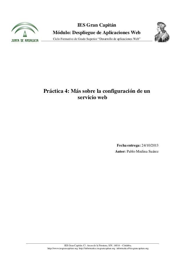 """IES Gran Capitán Módulo: Despliegue de Aplicaciones Web Ciclo Formativo de Grado Superior """"Desarrollo de aplicaciones Web""""..."""