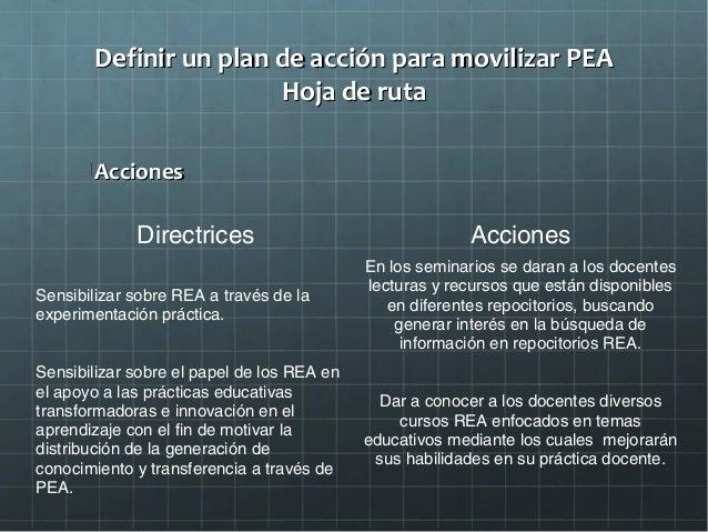 Definir un plan de acción para movilizar PEADefinir un plan de acción para movilizar PEA Hoja de rutaHoja de ruta Acciones...