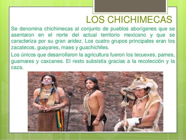 LOS CHICHIMECAS Se denomina chichimecas al conjunto de pueblos aborígenes que se asentaron en el norte del actual territor...