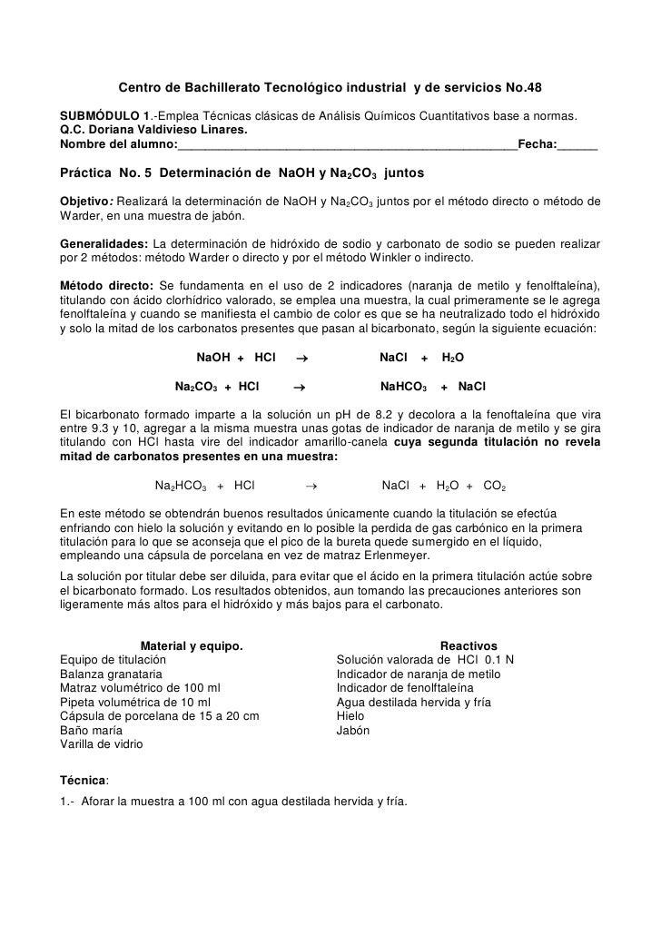 Centro de Bachillerato Tecnológico industrial y de servicios No.48SUBMÓDULO 1.-Emplea Técnicas clásicas de Análisis Químic...