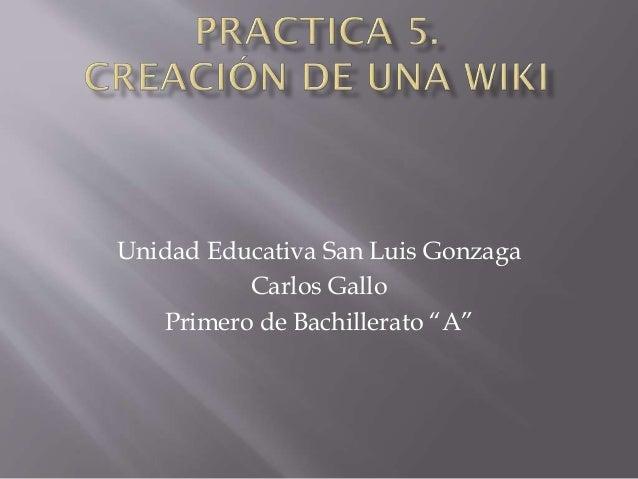 """Unidad Educativa San Luis Gonzaga Carlos Gallo Primero de Bachillerato """"A"""""""