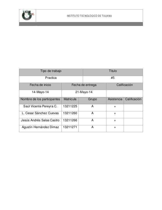INSTITUTO TECNOLOGICO DE TIJUANA Tipo de trabajo Titulo Practica #5 Fecha de inicio Fecha de entrega Calificación 14-Mayo-...