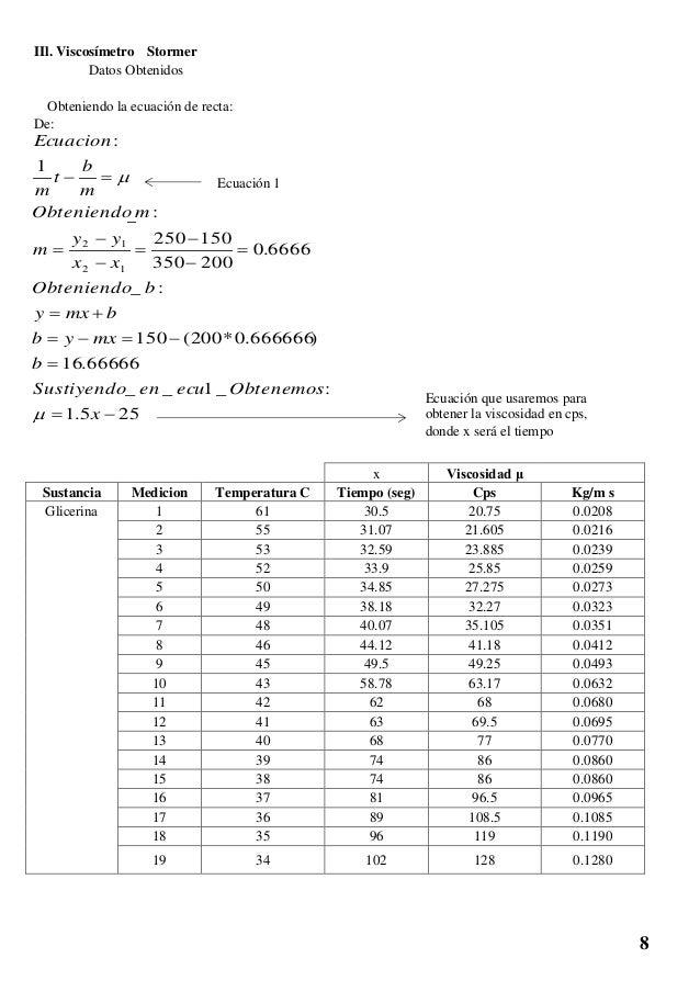 IIl. Viscosímetro Stormer Datos Obtenidos Obteniendo la ecuación de recta: De: 255.1 :_1__ 66666.16 )666666.0*200(150 :_ 6...