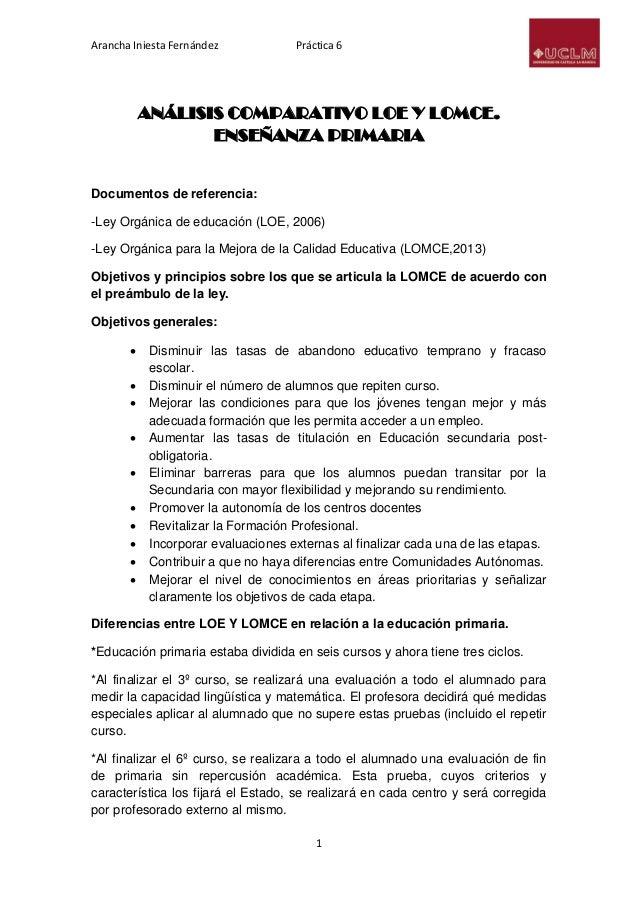 Arancha Iniesta Fernández Práctica 6 1 ANÁLISIS COMPARATIVO LOE Y LOMCE. ENSEÑANZA PRIMARIA Documentos de referencia: -Ley...