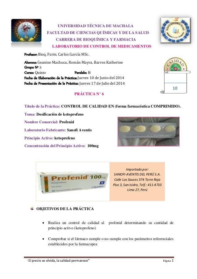 """""""El precio se olvida, la calidad permanece"""" Página 1 Importado por: SANOFI-AVENTIS DEL PERÚ S.A. Calle Los Sauces 374 Torr..."""