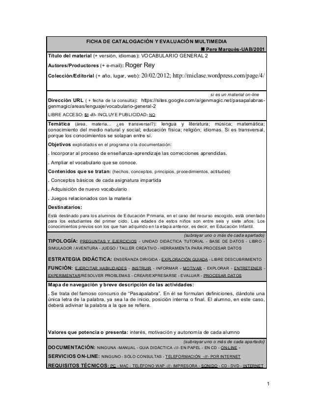 FICHA DE CATALOGACIÓN Y EVALUACIÓN MULTIMEDIA Pere Marquès-UAB/2001Título del material (+ versión, idiomas): VOCABULARIO ...