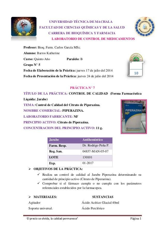 """""""El precio se olvida, la calidad permanece"""" Página 1 UNIVERSIDAD TÉCNICA DE MACHALA FACULTAD DE CIENCIAS QUÍMICAS Y DE LA ..."""