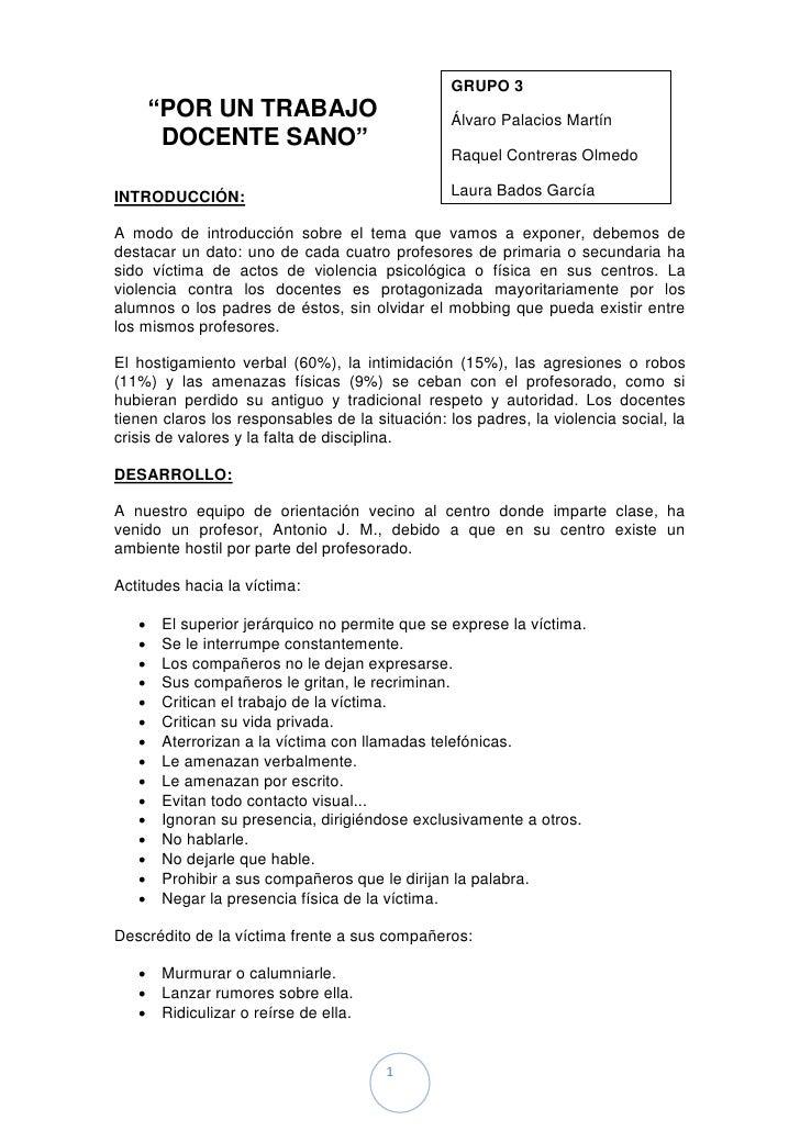 """GRUPO 3       """"POR UN TRABAJO                          Álvaro Palacios Martín        DOCENTE SANO""""                        ..."""