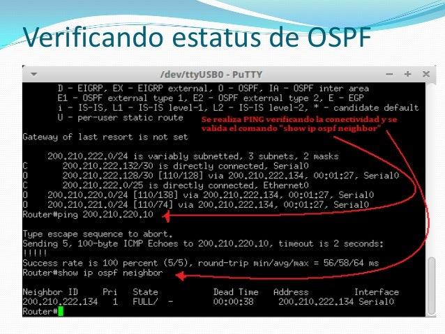 Verificando estatus de OSPF