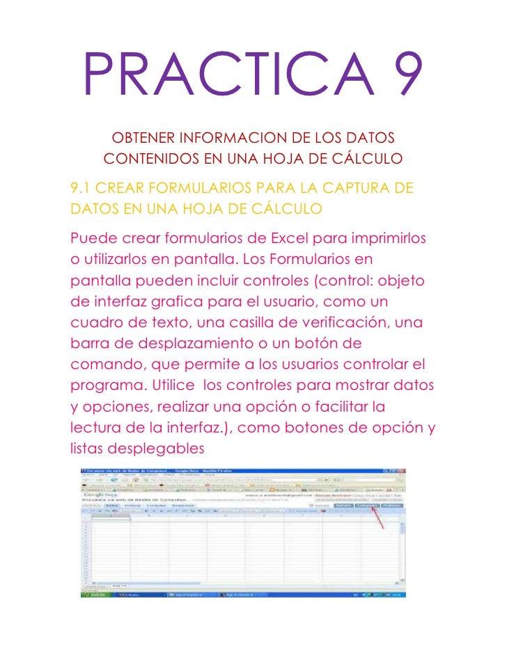 PRACTICA 9     OBTENER INFORMACION DE LOS DATOS    CONTENIDOS EN UNA HOJA DE CÁLCULO9.1 CREAR FORMULARIOS PARA LA CAPTURA ...