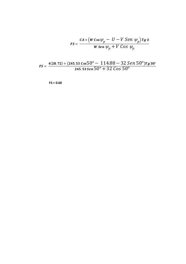 𝑭𝑺 = 𝑪𝑨 + (𝑾 𝑪𝒐𝒔 𝑝 − 𝑈 − 𝑉 𝑆𝑒𝑛  𝑝) 𝑻𝒈 ∅ 𝑾 𝑺𝒆𝒏  𝑝 + 𝑉 𝐶𝑜𝑠  𝑝 𝑭𝑺 = 𝟒(𝟐𝟖. 𝟕𝟐) + (𝟐𝟒𝟓. 𝟓𝟑 𝑪𝒐𝒔50° − 114.88 − 32 𝑆𝑒𝑛 50°)𝑻𝒈 ...