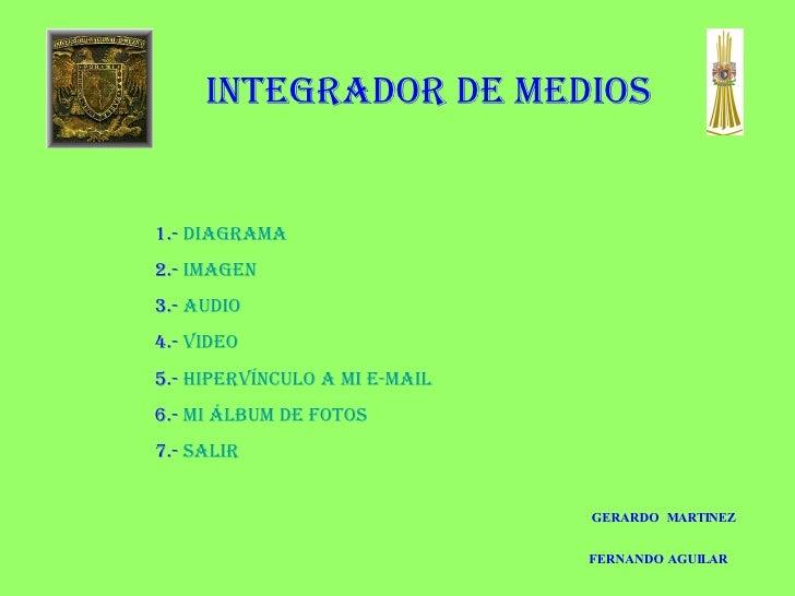 1.-  Diagrama 2.-  Imagen 3.-  Audio 4.-  Video 5.-  Hipervínculo a mi e-mail 6.-  Mi álbum de fotos 7.-  salir