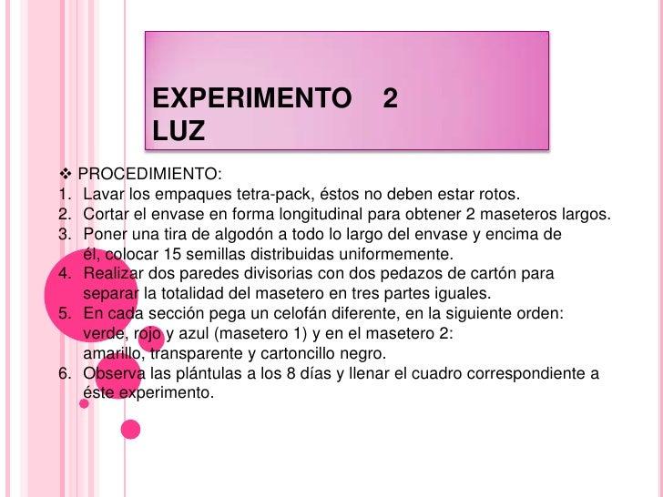EXPERIMENTO    2LUZ<br /><ul><li> PROCEDIMIENTO:</li></ul>Lavar los empaques tetra-pack, éstos no deben estar rotos.<br />...