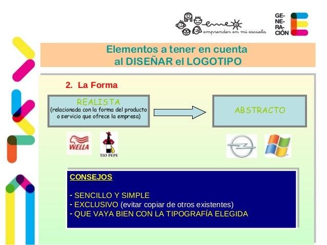 Elementos a tener en cuenta  al DISEÑAR el LOGOTIPO  2. La Forma  REALISTA  (relacionada con la forma del producto  o serv...