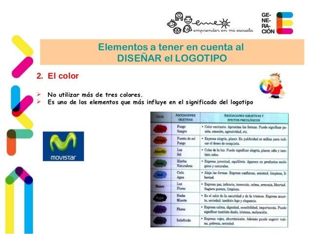 Elementos a tener en cuenta al  DISEÑAR el LOGOTIPO  2. El color   No utilizar más de tres colores.   Es uno de los elem...