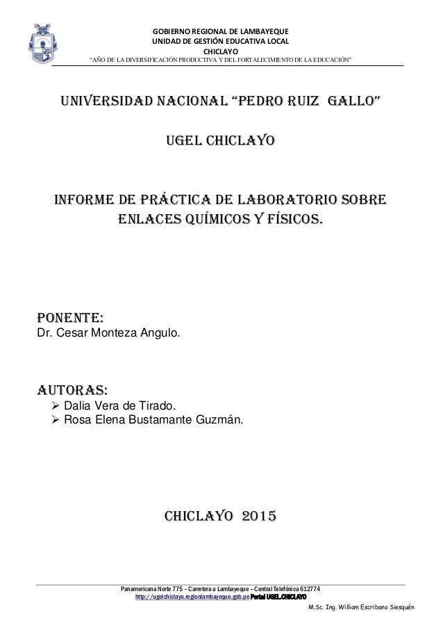 """GOBIERNO REGIONAL DE LAMBAYEQUE UNIDAD DE GESTIÓN EDUCATIVA LOCAL CHICLAYO """"AÑO DE LA DIVERSIFICACIÓN PRODUCTIVA Y DEL FOR..."""