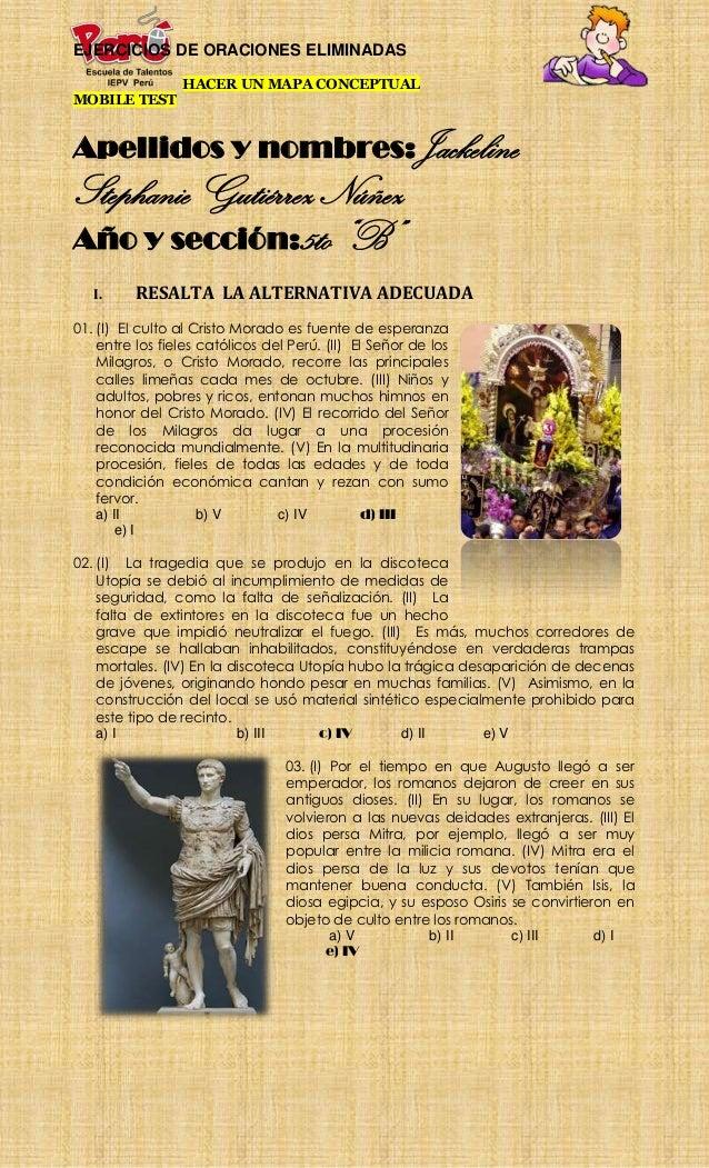EJERCICIOS DE ORACIONES ELIMINADAS                 HACER UN MAPA CONCEPTUALMOBILE TESTApellidos y nombres:JackelineStephan...