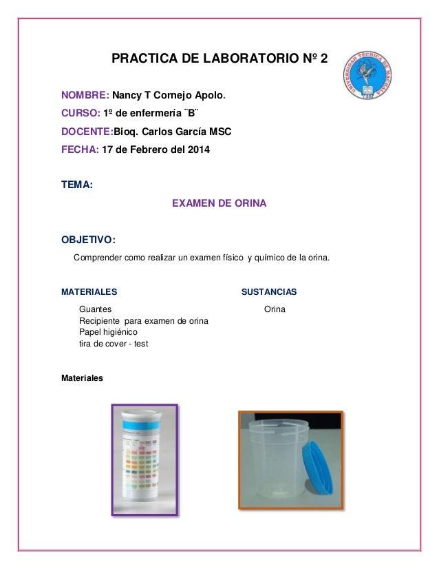PRACTICA DE LABORATORIO Nº 2 NOMBRE: Nancy T Cornejo Apolo. CURSO: 1º de enfermería ¨B¨ DOCENTE:Bioq. Carlos García MSC FE...