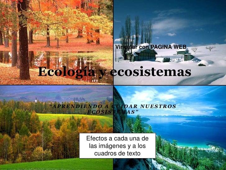 """Vincular con PAGINA WEB<br />Ecología y ecosistemas <br />""""Aprendiendo a cuidar nuestros ecosistemas""""<br />Efectos a cada ..."""