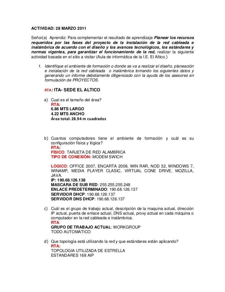ACTIVIDAD: 28 MARZO 2011<br />Señor(a)  Aprendiz: Para complementar el resultado de aprendizaje Planear los recursos reque...