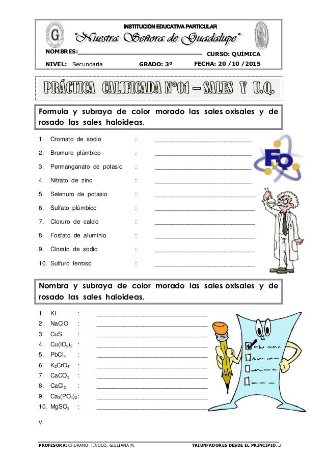 PROFESORA: CHURANO TINOCO, GIULIANA M. TRIUNFADORES DESDE EL PRINCIPIO…! CURSO: QUÍMICA NIVEL: Secundaria GRADO: 3º FECHA:...