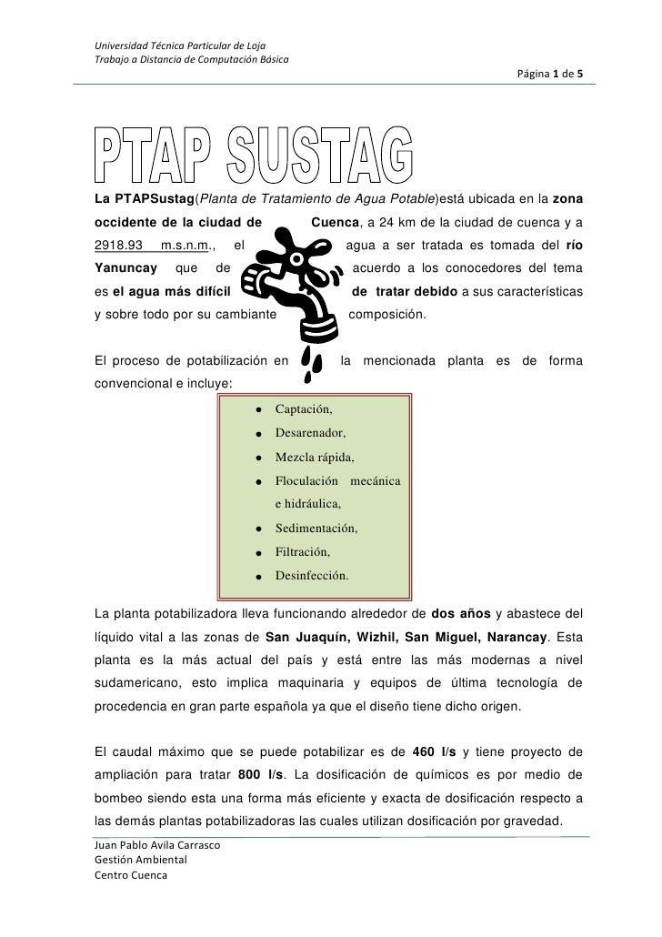 <br />167259040576500La PTAP Sustag (Planta de Tratamiento de Agua Potable) está ubicada en la zona oc...