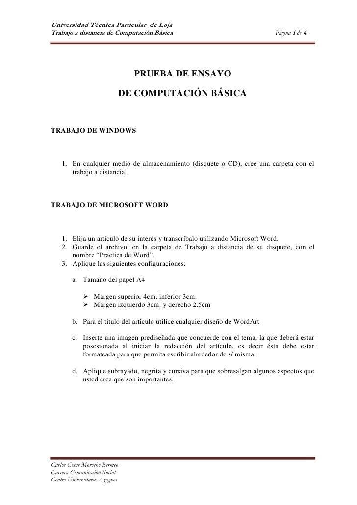 PRUEBA DE ENSAYO<br />DE COMPUTACIÓN BÁSICA<br />TRABAJO DE WINDOWS<br />En cualquier medio de almacenamiento (disquete o ...