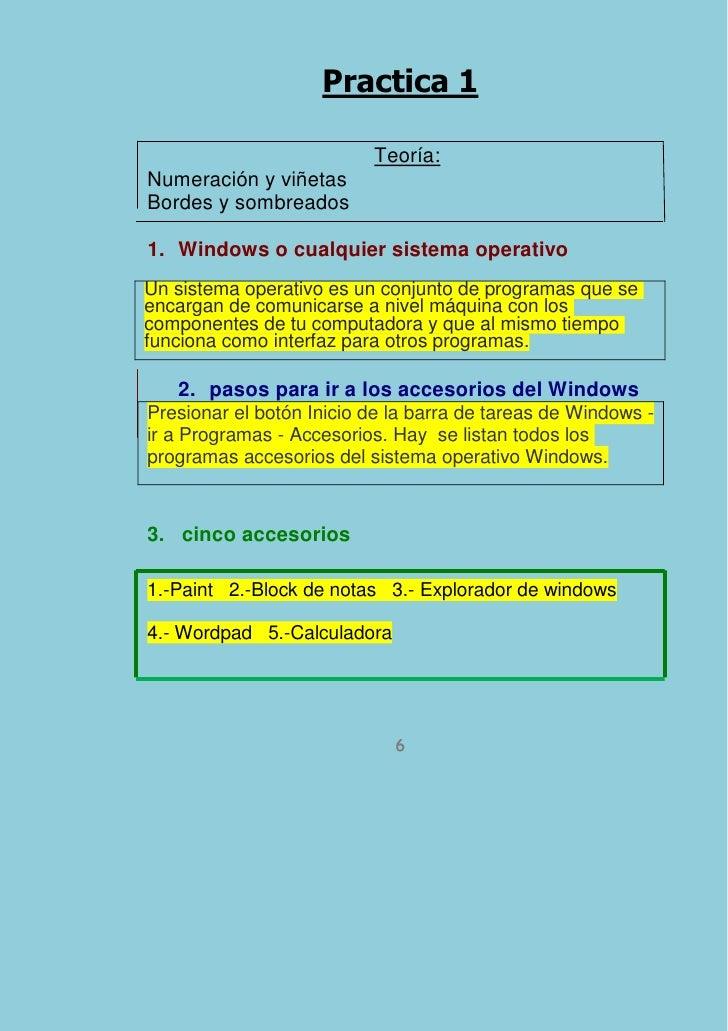 Practica 1                          Teoría:Numeración y viñetasBordes y sombreados1. Windows o cualquier sistema operativo...