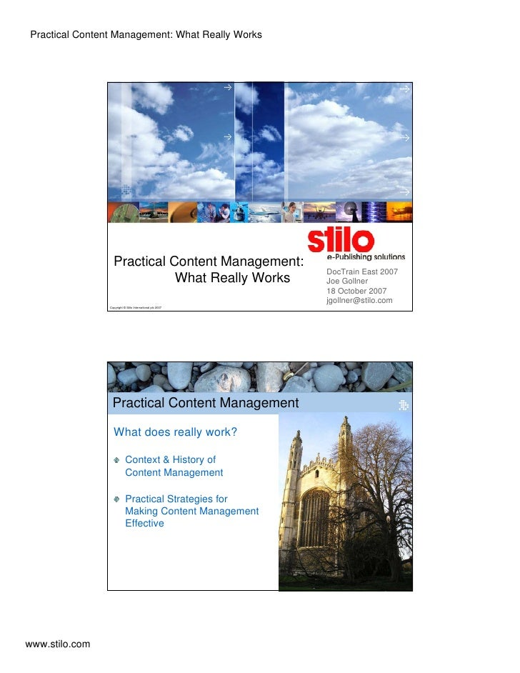 Practical Content Management: What Really Works                       Practical Content Management:                       ...