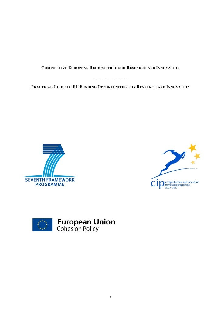 COMPETITIVE EUROPEAN REGIONS THROUGH RESEARCH AND INNOVATION                             -----------------------  PRACTICA...