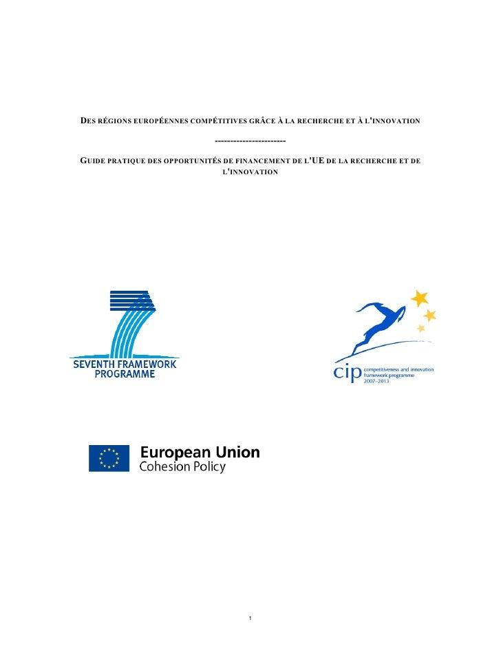 DES RÉGIONS EUROPÉENNES COMPÉTITIVES GRÂCE À LA RECHERCHE ET À LINNOVATION                              ------------------...