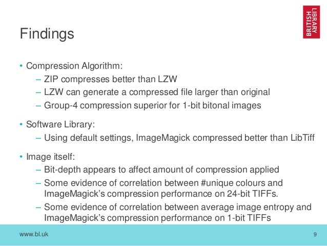 iPRES 2016 - Practical analysis of tiff file size reductions