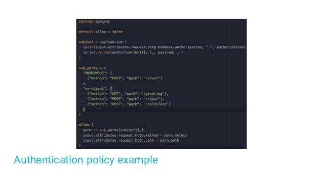 Authentication policy example
