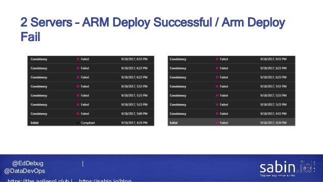 @EdDebug   @DataDevOps 2 Servers – ARM Deploy Successful / Arm Deploy Fail