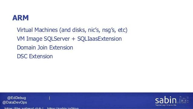 @EdDebug   @DataDevOps ARM • Virtual Machines (and disks, nic's, nsg's, etc) • VM Image SQLServer + SQLIaasExtension • Dom...