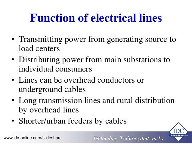 Function of electrical lines  • Transmitting power from generating source to  load centers  • Distributing power from main...