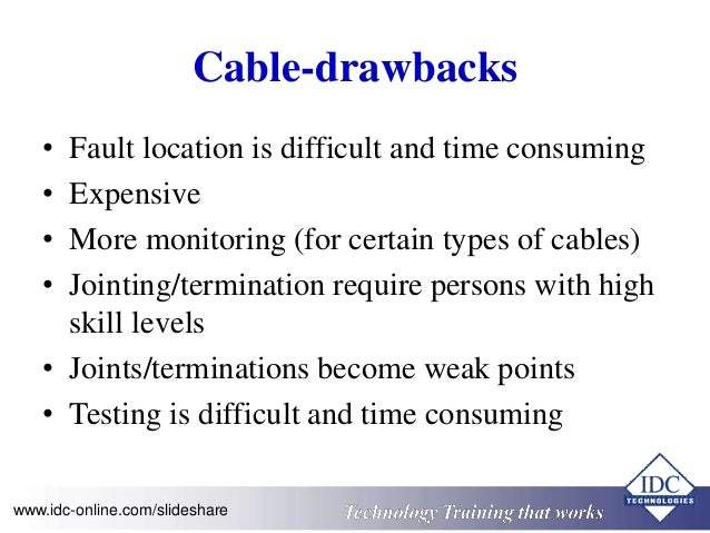 Cable-drawbacks  • Fault location is difficult and time consuming  • Expensive  • More monitoring (for certain types of ca...