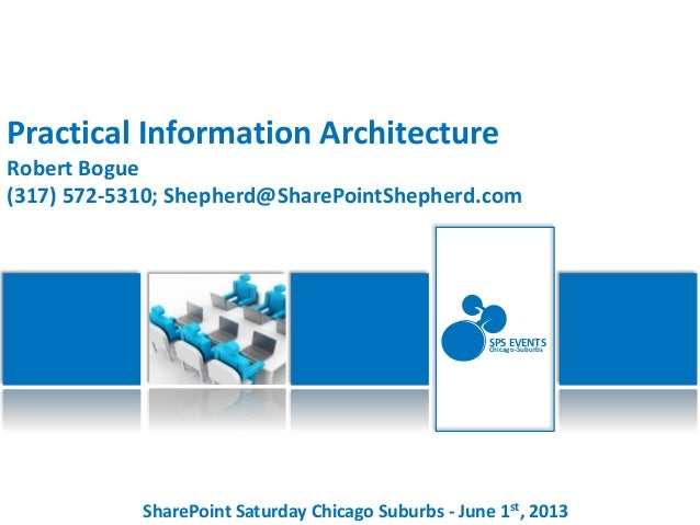 SharePoint Saturday Chicago Suburbs - June 1st, 2013SPS EVENTSChicago-SuburbsPractical Information ArchitectureRobert Bogu...