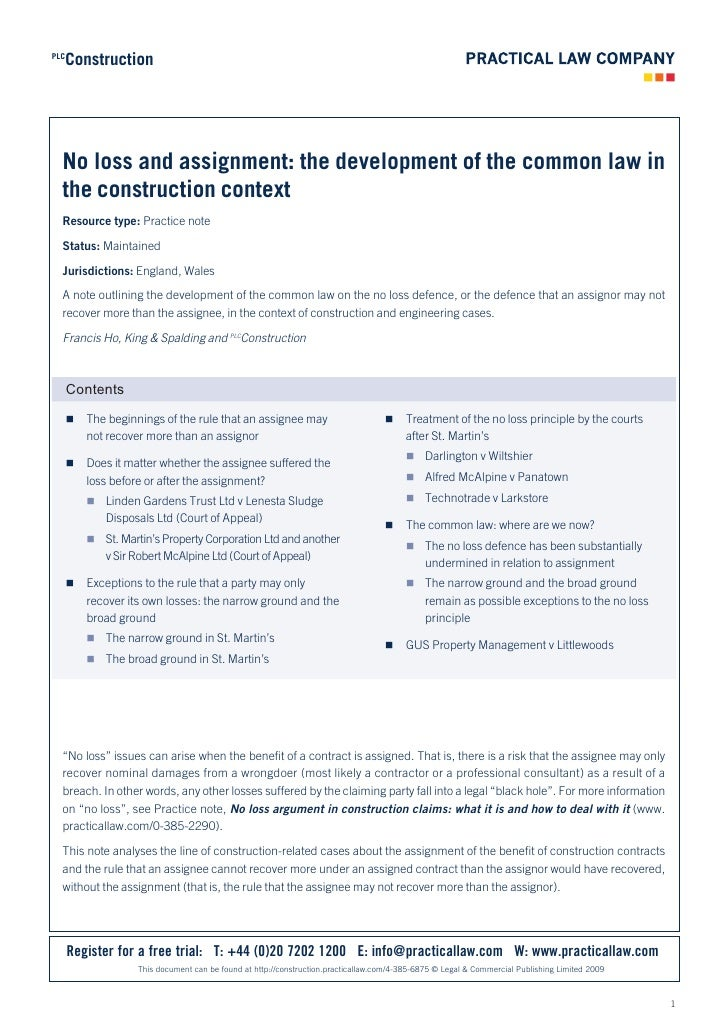 Construction PLC       No loss and assignment: the development of the common law in   the construction context   Resource ...