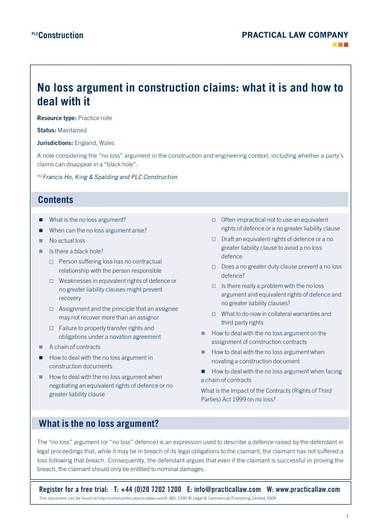 Construction PLC       No loss argument in construction claims: what it is and how to   deal with it   Resource type: Prac...