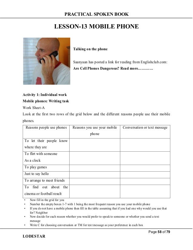 PRACTICAL SPOKEN BOOK Page 58 of 79 LODESTAR LESSON-13 MOBILE PHONE Talking on the phone Saanyaan has posted a link for re...